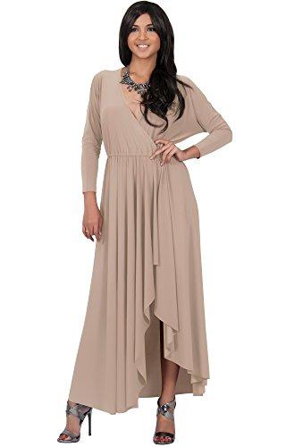 KOH KOH® Femmes Robe Longue À Volants Fendue Manches Longues Multisegment Marron Clair