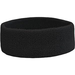 Terry Headband – Frottee Stirnband für Sport & Freizeit Farbe Schwarz