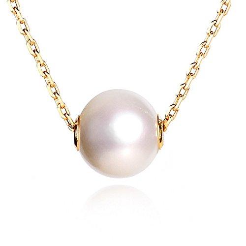 Dalwa Kette Damen 14 Karat 585 Gold Vergoldete Perlenkette aus 925 Silber mit echt Süßwasser-Zuchtperle-Anhänger, Ideales Geschenk für Mutter Frauen und Freundin, inkl. Scmuck-Etui aus Samt