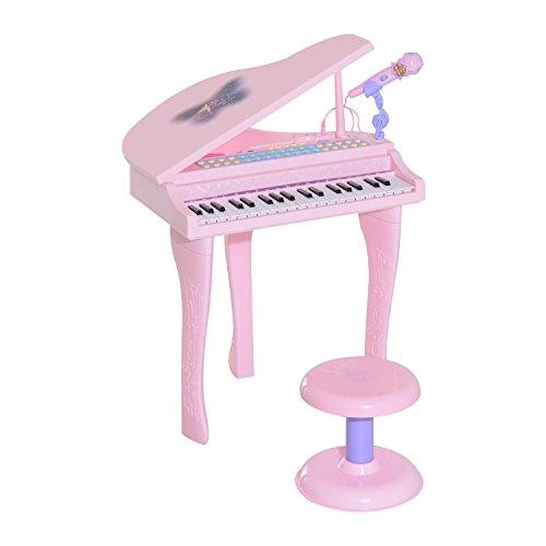 HOMCOM Kinder Klavier Mini-Klavier Piano Keyboard Musikinstrument MP3 USB inkl. Hocker 37/32 Tasten (Modell1/ rosa)