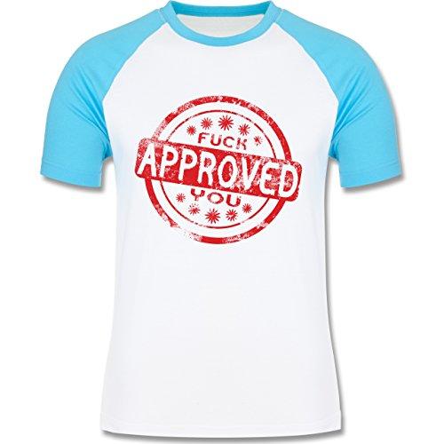 lustige Sprüche - Fuck you approved - L140 Männer Raglan Baseball Shirt Weiß/Türkis