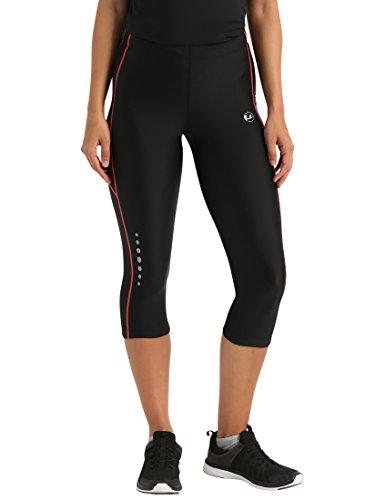 Ultrasport Pantalones pirata de correr para mujer con efecto de compresión y función de secado rápido, Negro/Rosa, XL