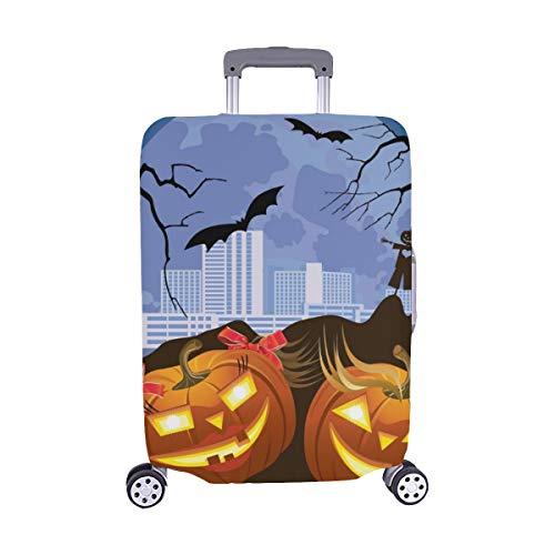 (Zwei beleuchtete Kürbis Halloween Nacht Mond Muster Spandex Staubschutz Trolley Protector case Reisegepäck Schutz Koffer Abdeckung 28,5 X 20,5 Zoll)