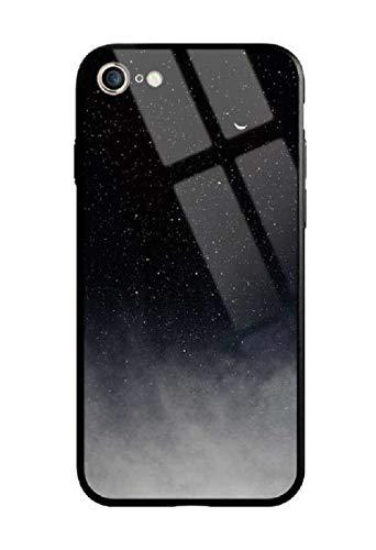 Cover iPhone 7, Cover iPhone 8, Custodia Protettiva in Vetro Temperato 9H [AntiGraffii] + Bordo e Cornice in TPU [Silicone Morbido] [Antiurti] Stile Galaxy Universale. (Universo)