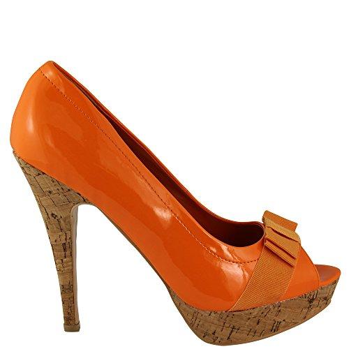 Unbekannt - Scarpe peep toe Donna Arancione (arancione)