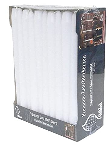 Case of 4 Boxes of 50 x 25cm White Dinner CANDLES. High Quality.