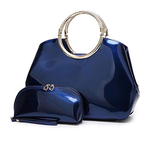 DEERWORD Damen Handtaschen Schultertaschen Umhängetasche Tornistertaschen Top-Griff Tragetasche Leder Blau -