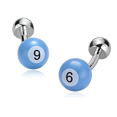 KnBoB Edelstahl Übergeben Manschettenknöpfe für Herren Billiards Ball Nummer 9 Jahrestag Geschenk Blau
