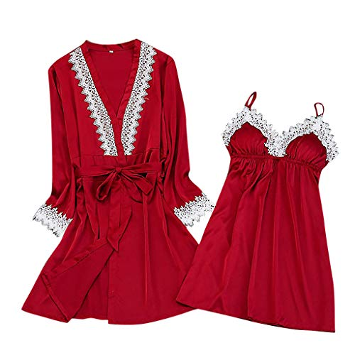 Dorical Damen 2pcs Dessous Die Seide Spitze Robe Kleid Puppe Nachthemd Nachtwäsche Kimono Einstellen Sexy Sling Nachthemd Nachtwäsche...