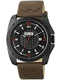 Edwin EMERGE Men's 3 Hand-Date Watch, Black Stainless Steel Case with Brown Leather Band