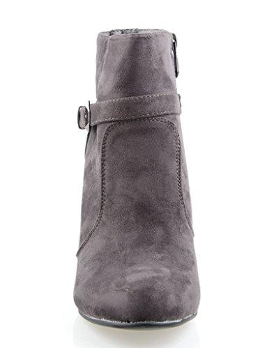 Eyekepper Chaussure fashion femme demoiselle - chaussures botte a talon pointu noir gris fonce