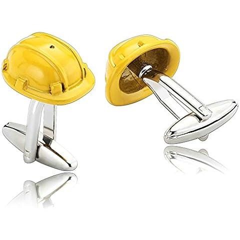 Daesar 2 Piezas Gemelos Hombre Rodio Plateado Amarillo Seguridad Casco Clásico Sombrero Camisa Alianzas de Boda