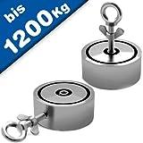 Angeln Suchmagnet Bergemagnet Neodym-Magnet (NdFeB) - 2 Bohrungen, vernickelt - Durchmesser: D48 - D136mm - Zugkraft: ab 200 Kg (2x100Kg) bis 1200Kg (2x 600Kg) - Perfekt zum Magnetfischen/Magnetangeln, Größe :Ø 75 - 200 kg x 2