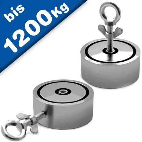 Angeln Suchmagnet Bergemagnet Neodym-Magnet (NdFeB) - 2 Bohrungen, vernickelt - Durchm.: Ø48-136mm - Zugkraft bis 1200Kg (2x 600Kg) - Perfekt zum Magnetfischen/Magnetangeln, Größe: Ø136-600kg x 2