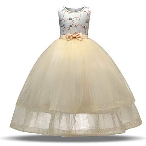 Sanahy Brautjungfernkleid Brautjungfernkleid Langarm Spitze Abendkleid 3-10 Jahre
