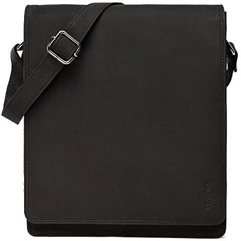 LEABAGS London genuine buffalo leather messenger bag in vintage style - Black