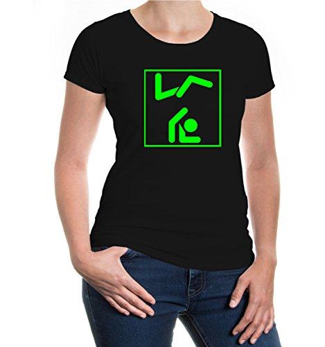 buXsbaum® Girlie T-Shirt Breakdancing-Piktogramm Black-Neongreen