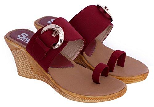 Sammy ouvert anneau d'orteil coin sandale chaussures de sport des femmes Bordeaux