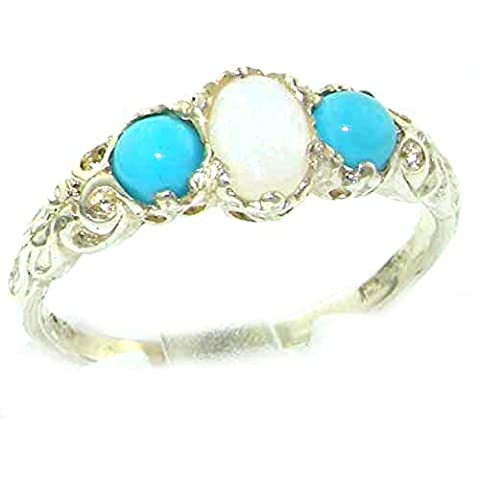 Ladies Solid Sterling Silver Natural Opal & Turquoise English Victorian Trilogy Ring - Size O - Finger Sizes L to Z Available - Perfect Gift for Mum, Wife, Daughter, Grandaughter,