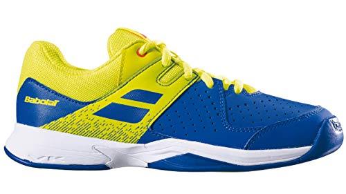 Babolat Bambini Pulsion Indoor Junior Scarpe da Tennis Scarpa per Tappeto Blu - Giallo Limone 37