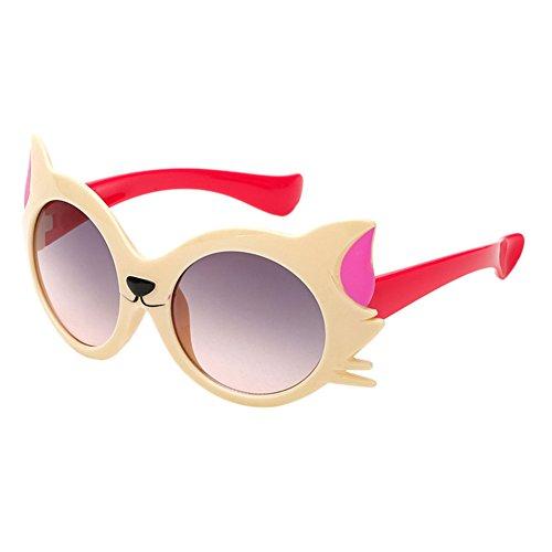 Haodasi Lunettes de soleil mode chat pour enfants UV400 beige/rose