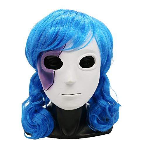 Homemust Sally Gesichtsmaske Requisiten Blaue Wellenperücke Cosplay Spiel Masque Halloween Kostüm Party Dekoration