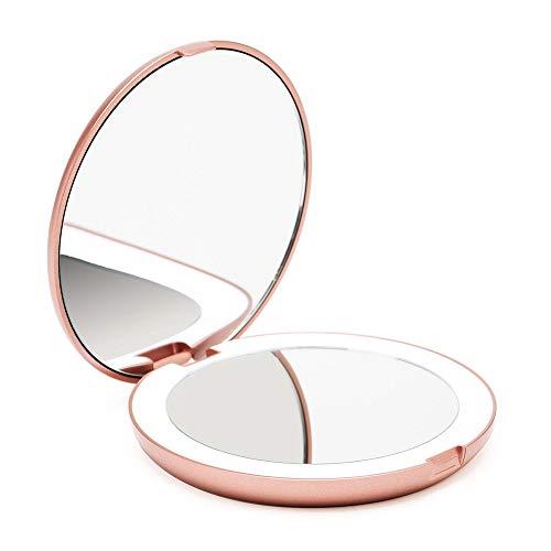 Fancii Espejo de Bolsillo Compacto Iluminado LED para Maquillaje - Aumento de 1X/10X - Gran Espejo Plegable...