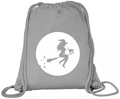 n Grusel Kostüm Premium Bio Baumwoll Turnbeutel Rucksack Stanley Stella Halloween - Hexe, Größe: onesize,Heather Grey (Grey Ghost Kostüm)