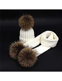 7738950fe4b5 Ensemble de réchauffeur pour enfants Grand Pompon Conception Hiver Enfants  Bonnet Bonnet Écharpe Unisexe 2 Pièces Hiver…