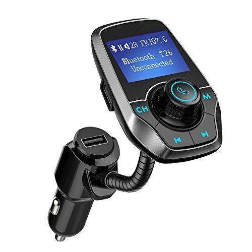 Mpow Bluetooth FM Transmitter Auto, KFZ Radio Adapter MP3 Player freisprecheinrichtung KFZ USB Ladegerät, 3.5 mm AUX Audio Eingangbuchse, TF/SD Card Buchse, USB Stick Flash Laufwerkbuchse, Ein/Aus Funktion Flash-laufwerk Und Sd-karte