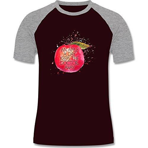 Statement Shirts - An apple a day keeps the doctor away - zweifarbiges Baseballshirt für Männer Burgundrot/Grau meliert