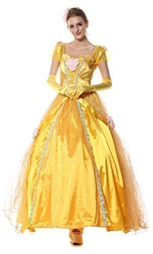 Damen langes volle Länge Die Schöne und das Biest Belle Prinzessinnen Karneval Kostüm Fasching Outfit - Gelb, 40-42 (Die Schöne Und Das Biest Kostüme Erwachsene)
