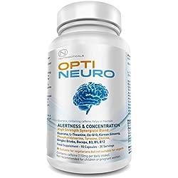 Optineuro® steigert Konzentrationsfähigkeit, Aufmerksamkeit und Auffassungsgabe | Das top-bewertete, meist verkaufte und wissenschaftlich unterstützte Nahrungsergänzungsmittel für das Gehirn | Premium Produkt mit Guarana, L-Theanin, Cholin, Ginseng, Bacopa Extrakt, TMG, Gingko Biloba, Tyrosin, Phosphatidylserin (PS), Coenzym Q10, B12 (Methylcobalamin) uvm | 5760mgpro Portion | 60 Tabletten