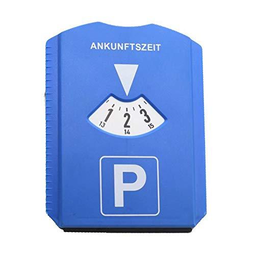 seasaleshop Parkscheibe Parkuhr Auto mit Einkaufswagenchip Parkscheibe mit Eiskratzer Kunststoff Blau