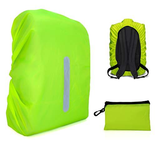 MyGadget Rucksack Regenschutz mit Gummizug bis 55 Liter [reflektierend & wasserdicht] Rucksackhülle Backpack Schutz Schutzhülle Regenhülle - Neon Gelb (Gefaltet Rucksack)
