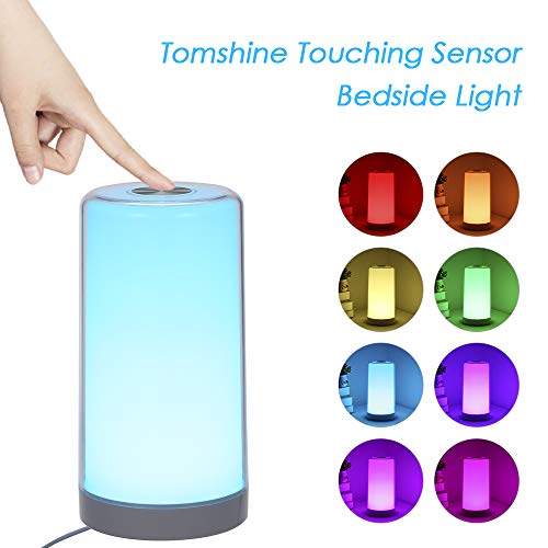 Nachttischlampe Touch Dimmbar, Tomshine LED Tischlampe Warmem Weißlicht Bunt 256 RGB, Memory und Augenschutz Funktion Nachtlicht [Energieklasse A++]