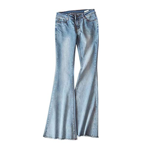 Lisli Pantalon Bootcut Femme Slim Pant Collant Jean Denim Taille Basse Legging Casual Yoga Printemps Bleu Clair 40 FR