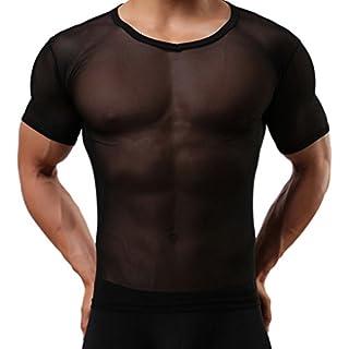 ACMEDE Men's Sexy Underwear Mesh T-Shirt Gym Training Tank Top