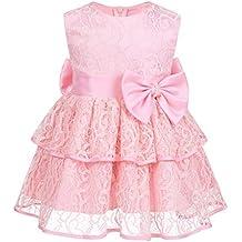 a3c194c5e iiniim Vestido de Bautizo Boda Fiesta Bebe Niña Vestido de Flores Encaje sin  Mangas Tutu Infantil