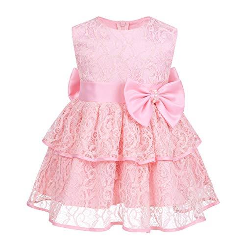 Tiaobug Baby Festlich Kleider Mädchen Prinzessin Spitzen Schleife Partykleid Festkleid Lagenlock Rock Taufe Hochzeits Outfits Rosa 116-122(Herstellergröße 100)
