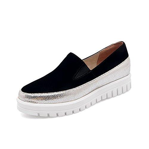 AllhqFashion Damen Ziehen Auf Blend-Materialien Rund Zehe Niedriger Absatz Pumps Schuhe Schwarz