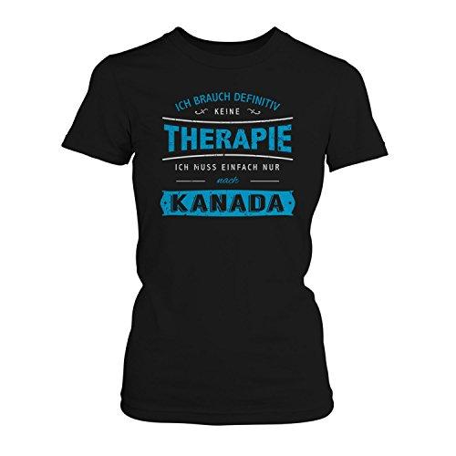 Fashionalarm Damen T-Shirt - Ich brauch keine Therapie - Kanada   Fun Shirt mit Spruch Urlaub Nordamerika Ottawa Toronto Vancouver Angeln Wandern Schwarz