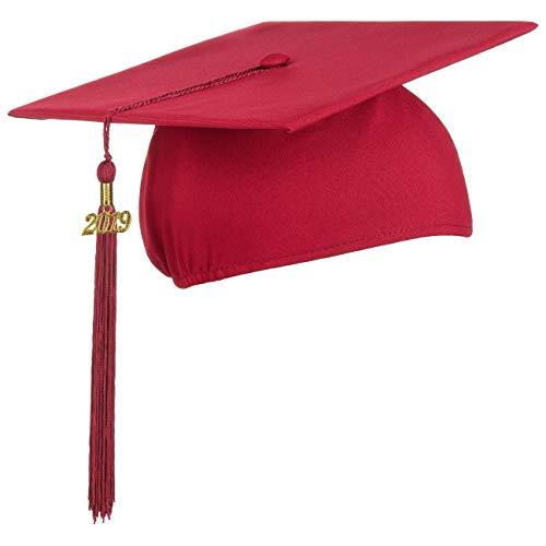 Lierys Doktorhut (Studentenhut) mit 2019 Jahreszahl Anhänger, Hut für Abschlussfeiern vom Studium an Universität, Hochschule oder Abitur, Absolventenhut in der Farbe Bordeaux-rot, Einheitsgröße
