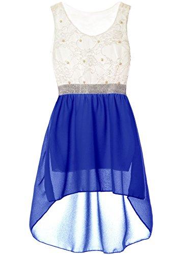 Mädchen Kinder Sommer-Kleid Spitze Glitzer Kurzarm Kunst-Perlen 22286, Farbe:Blau, Größe:104