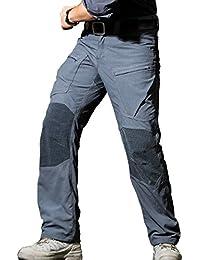 Free Soldier - Pantalones todoterreno para hombre, uso exterior, tejido Cordura y Kevlar, revestimiento de Teflón, impermeables, hombre, gris, L