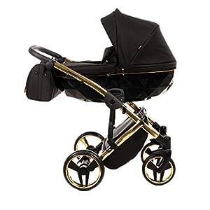 Baby PRAM Pushchair Set JUNAMA Diamond S-LINE BABYWAGEN Buggy BABYSCHALE + ZUBEHÖR (02 Schwarz-Gold, 2in1)   14