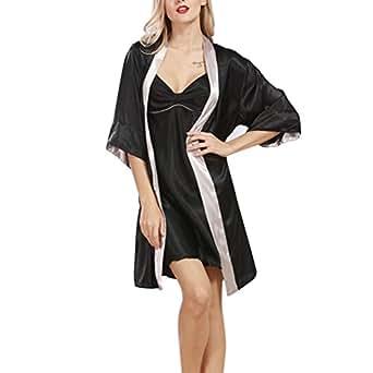 robes de nuit chemises de nuit pyjama femme chic nuisette peignoir femme en satin dentelle. Black Bedroom Furniture Sets. Home Design Ideas