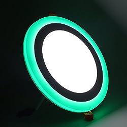 (2 Pack)Led Foco Empotrable Techo,Maigel 12+6W White+Green Downlight Lámpara de techo Marco Redondo,de techo de iluminación incluye bombilla LED para salón o dormitorio cocina etc