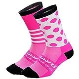 WADUANRUN Fußball Strümpfe/Radsportsocken/verschleißfeste atmungsaktive Schlauchstrümpfe für Damen und Herren - S (34-39) pink