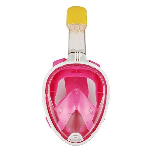 Tauchmaske Volle Blick 180Grad Voll Gesicht Schnorcheln Tauchmaske Masken für Erwachsene und Kinder Sicherheit Tauchen, Rose, S(Inner17*13, diamètre extérieur 23*19 cm)
